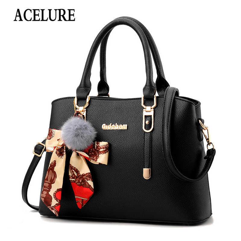 Acelure cor sólida macio couro do plutônio sacos de ombro das mulheres de pele arco pingente moda todo-match bolsas senhoras designer sacos de compras