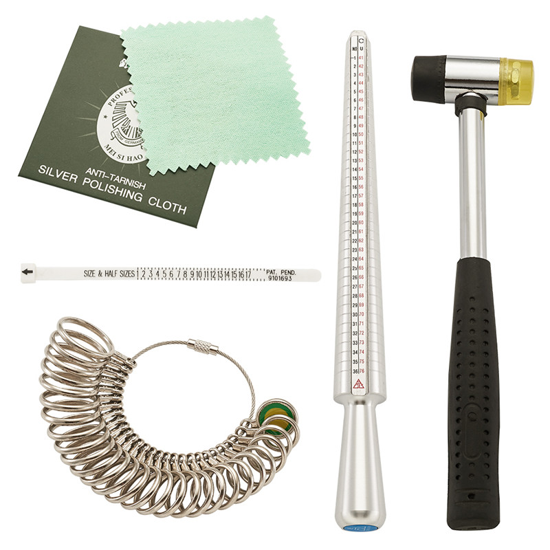 Jewelry Measuring Tool Sets, With Ring Mandrel And Ring Sizers Model, Finger Measure, Rubber Hammers And Silver Polishing Cloth