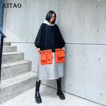 XITAO Plus Size Dress Fashion New Women Patchwork Hit Color Hooded Collar Casual Style 2020 Autumn Minority Loose ZY1238