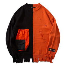 New Color Block Patchwork Knit Sweaters Men/Women 2019 Hip Hop Winter Casual Pullover Sweater Fashion Loose Long Sleeve Sweaters color block mixed knit pullover sweater