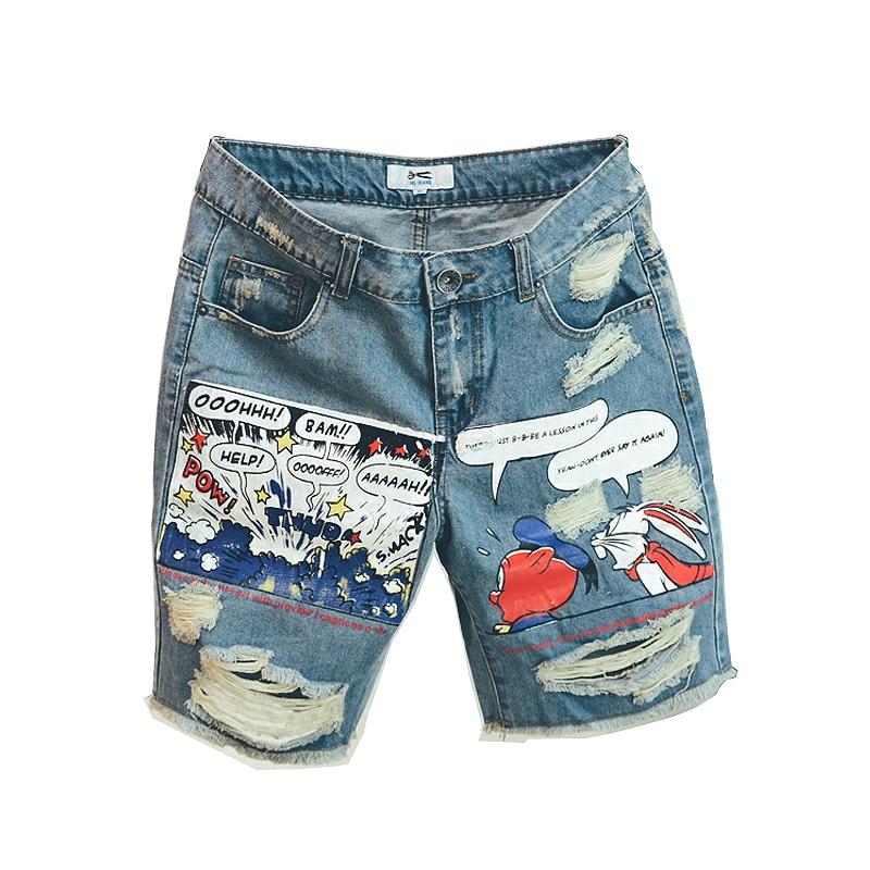 2020 Hot New Arrival Print Light Robin Jean Shorts Men Ulzzang Summer Pattern Knee Length Zipper Fly Mid Weight Jeans Dsq Mens