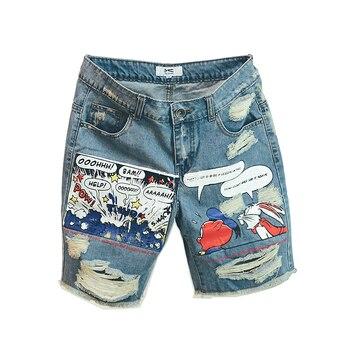 цена на 2020 Hot New Arrival Print Light Robin Jean Shorts Men Ulzzang Summer Pattern Knee Length Zipper Fly Mid Weight Jeans Dsq Mens