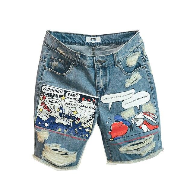 2020 Hot New Arrival Print Light Robin Jean Shorts Men Ulzzang Summer Pattern Knee Length Zipper Fly Mid Weight Jeans Dsq Mens 1