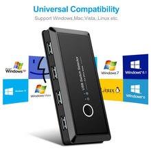 2 computer di Condivisione 4 Dispositivi USB KVM Switch Box USB2.0 Switcher 2x4 USB 2.0 Periferiche Sharing Switch per il computer tastiera