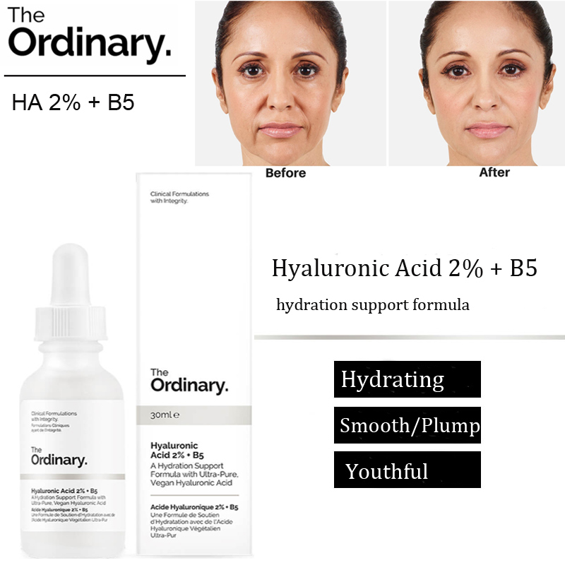 THE ORDINARY Hyaluronic Acid 2% + B5 Hydration Support Formula 30ml Skin Moisturizing Plump Smooth Youthful Face Serum