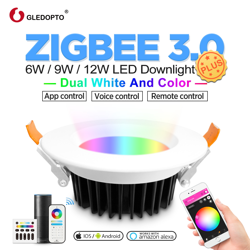 GLEDOPTO Zigbee Color LED Downlight Plus RGBCCT 6W/9W/12W Work With Zigbee Hub, Echo Voice Control Wall Switch Remote Control