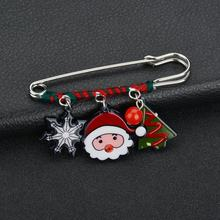 VOHE Brooch Pins Chain Santa Claus Charm Pendants Christmas Gift Snowmen Men Women Jewelry Trendy(China)