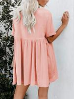 CHH55126 Women's Short Sleeve V Neck Pleated Loose Solid Color Tunic Mini Dress (Pink, L)