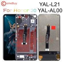 Comebuy display para huawei honor 20 display lcd tela de toque digitador do painel com moldura para huawei honor 20 lcd YAL L21 substituir