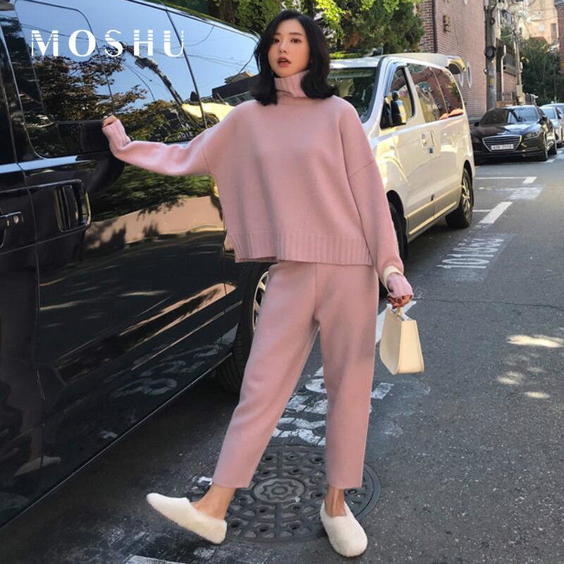 2 Pieces Set  Women Knitted Suit Winter Autumn Tracksuit Turtleneck Sweater Knit Pants Ladies Loose Suits Female Pants Suit