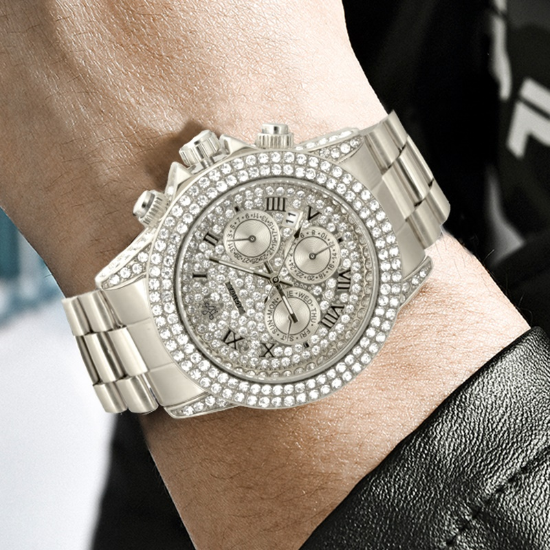 Часы мужские полностью из 18-каратного золота, роскошные Брендовые мужские часы с бриллиантами, роскошные мужские кварцевые часы с ремешком, 2020 4