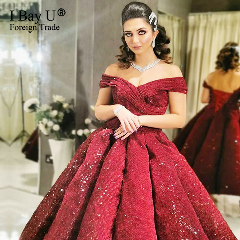 Wine Red Sparkly Sexy Burgundy Evening Dress V Neck Sequined Ball Gown Evening Party Sweet Dress