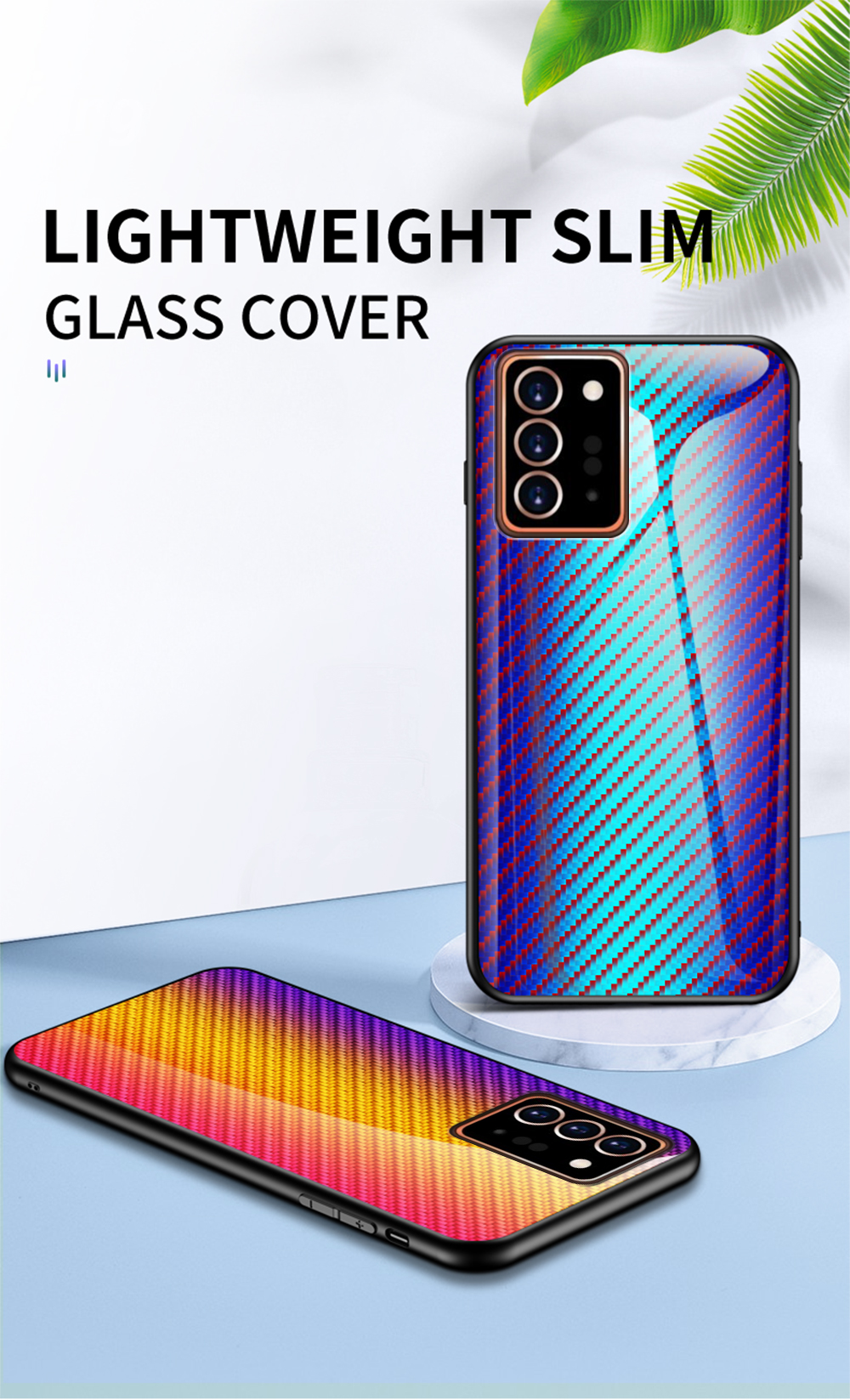XUANYAO Case Cover For Samsung Galaxy Note 20 Plus Case Glass Hard Cover For Samsung Galaxy Note 20 Ultra Case Slim Carbon Fiber (3)