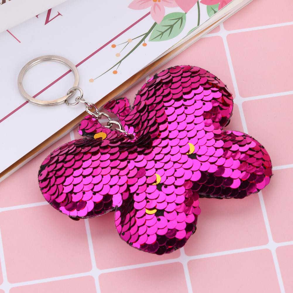 Colorido lindo mariposa de lentejuelas purpurina llave colgante de cadenas llavero titular bolsa adornos colgantes nuevo Chic
