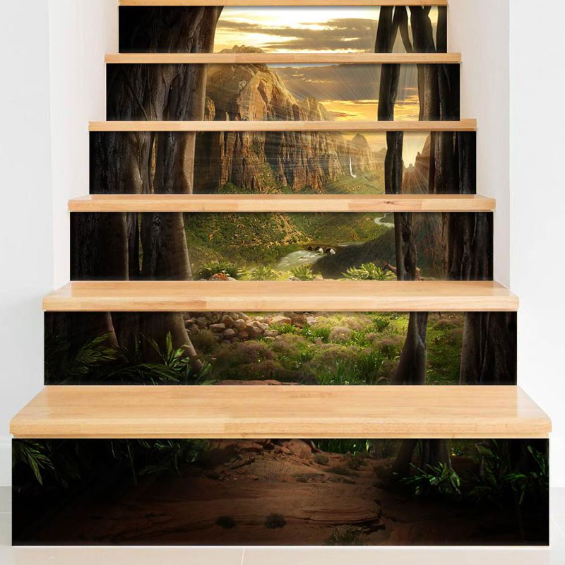 6pcs set 3D Valley Staircase Stair Riser Floor Sticker Self Adhesive DIY Stairway Waterproof PVC Wall Decal in Wall Stickers from Home Garden