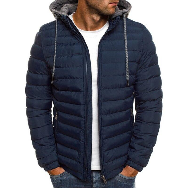 ZOGAA Winter Men Parkas Jacket Fashion Solid Hooded Coat Zipper Cotton Casual Warm Clothes Overcoat Male Streetwear Outwear 2019