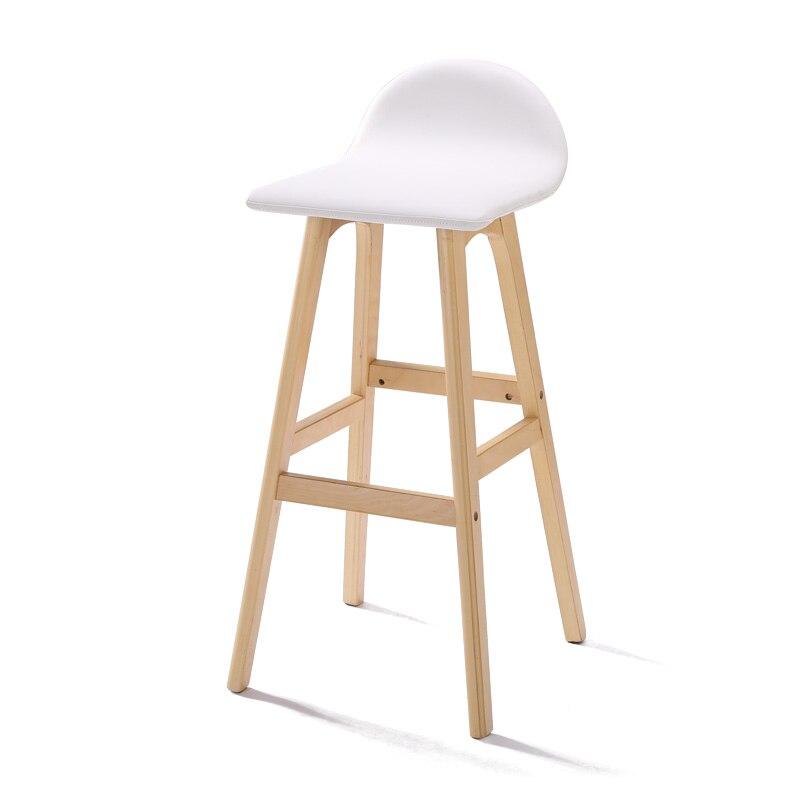 American Bar Chair Long Foot  Stool Nordic High  Backrest Cafe Creative Solid Wood   Modern Minimalist