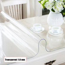 Tablecloth Transparent Rectangular PVC Soft Glass Table Cloth Waterproof Oilproof Table Cover for Home Kitchen Dining Room Table