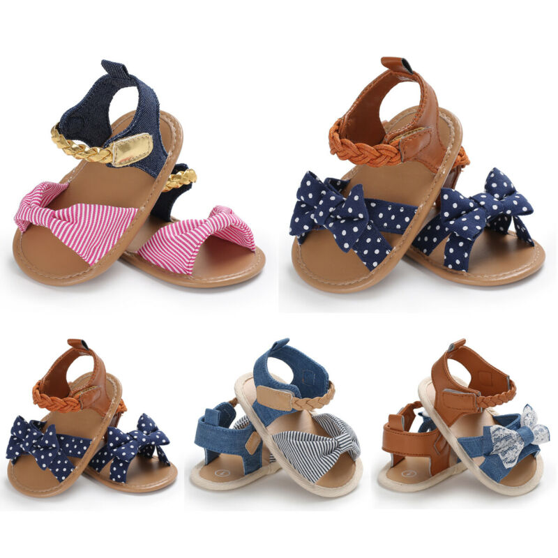 Newest Summer Newborn Infant Baby Girls Bow-Knot Sandals 2020 Fashion Infant Girl Bowknot Striped Moccasin Shoes 1st Prewalker