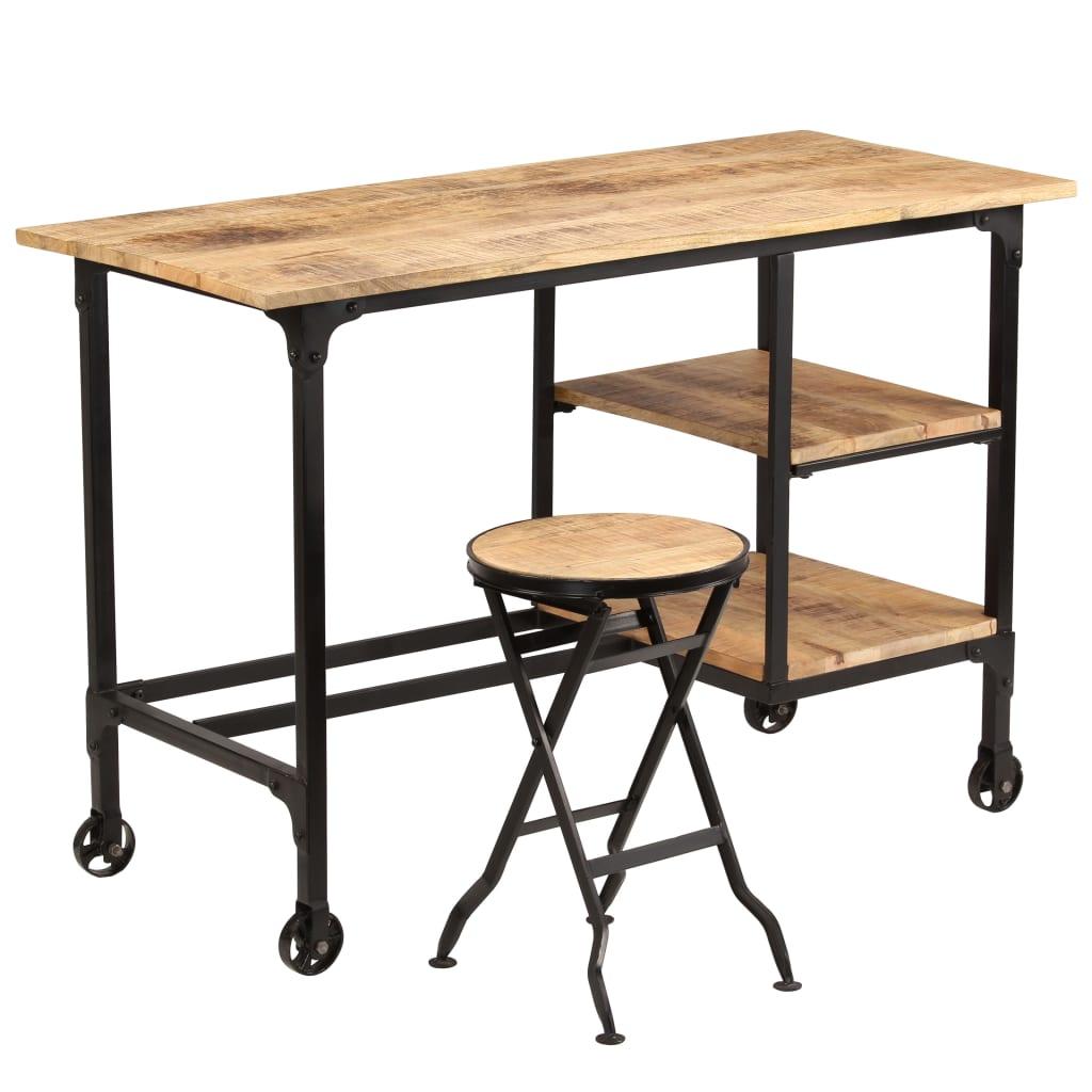 VidaXL Desk With Folding Stool Solid Mango Wood 115x50x76 Cm