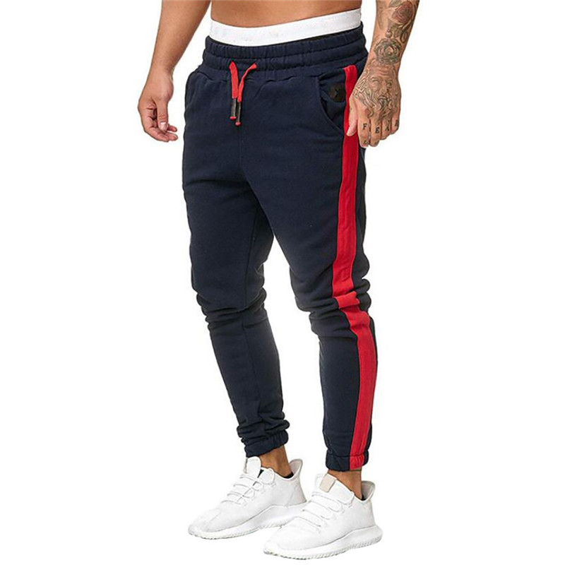 Rrive Men Drawstring Striped Fashion Patchwork Jogger Pockets Slim Fit Active Lounge Pants