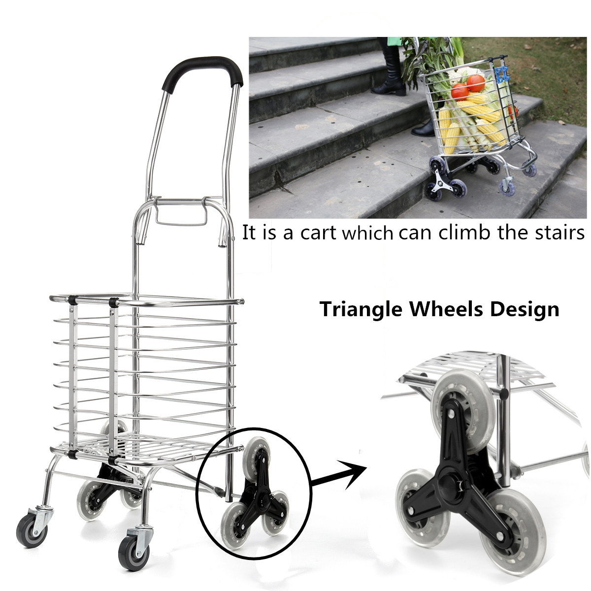 Shopping Carts Trolley Aluminium Foldable Luggage 8 Wheels Folding Basket Bag With Shopping Bag Oxford Upstairs