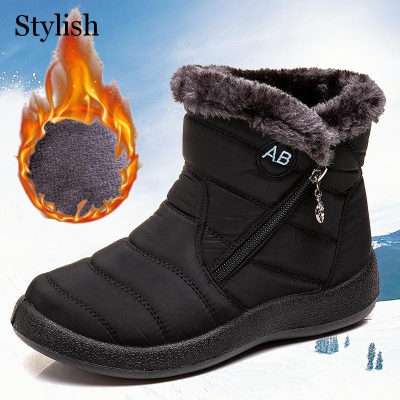 Ankle Boots Winter Snow Boot Female Flats Shoes Solid Fashion Warm Zippers Plus Size Casual Short Plush Woman Boots