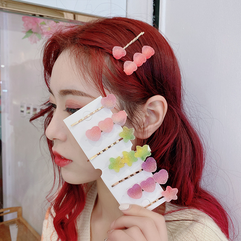 2PCS/Set Cute Candy Colors Silica Gel Star Heart Hair Clips For Girls Sweet Hair Ornament Barrettes Rubber Band Hair Accessories