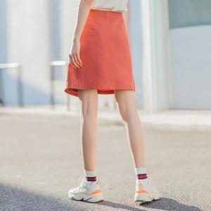 Image 2 - INMAN 2020 Summer New Arrival Literary Pure Cotton Irregular High Waist Pure Color Temperament A line Skirt