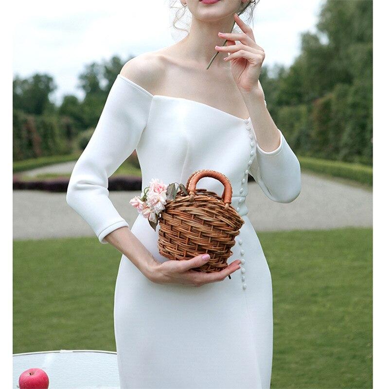 Image 3 - tailor shop custom made light wedding dress pure silk wool fabric off shoulder simple silk wedding dress white silk wedding gownWedding Dresses   -
