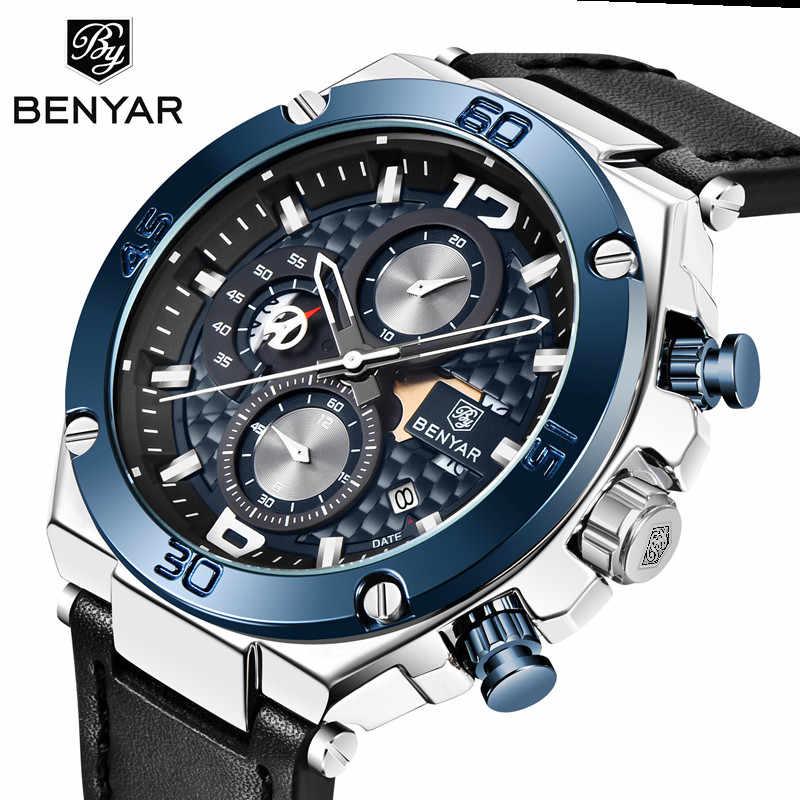 Top merk benyar 2019 nieuwe waterdichte chronograaf luxe quartz lederen zwarte band light blue dial heren horloge datum reloj hombre