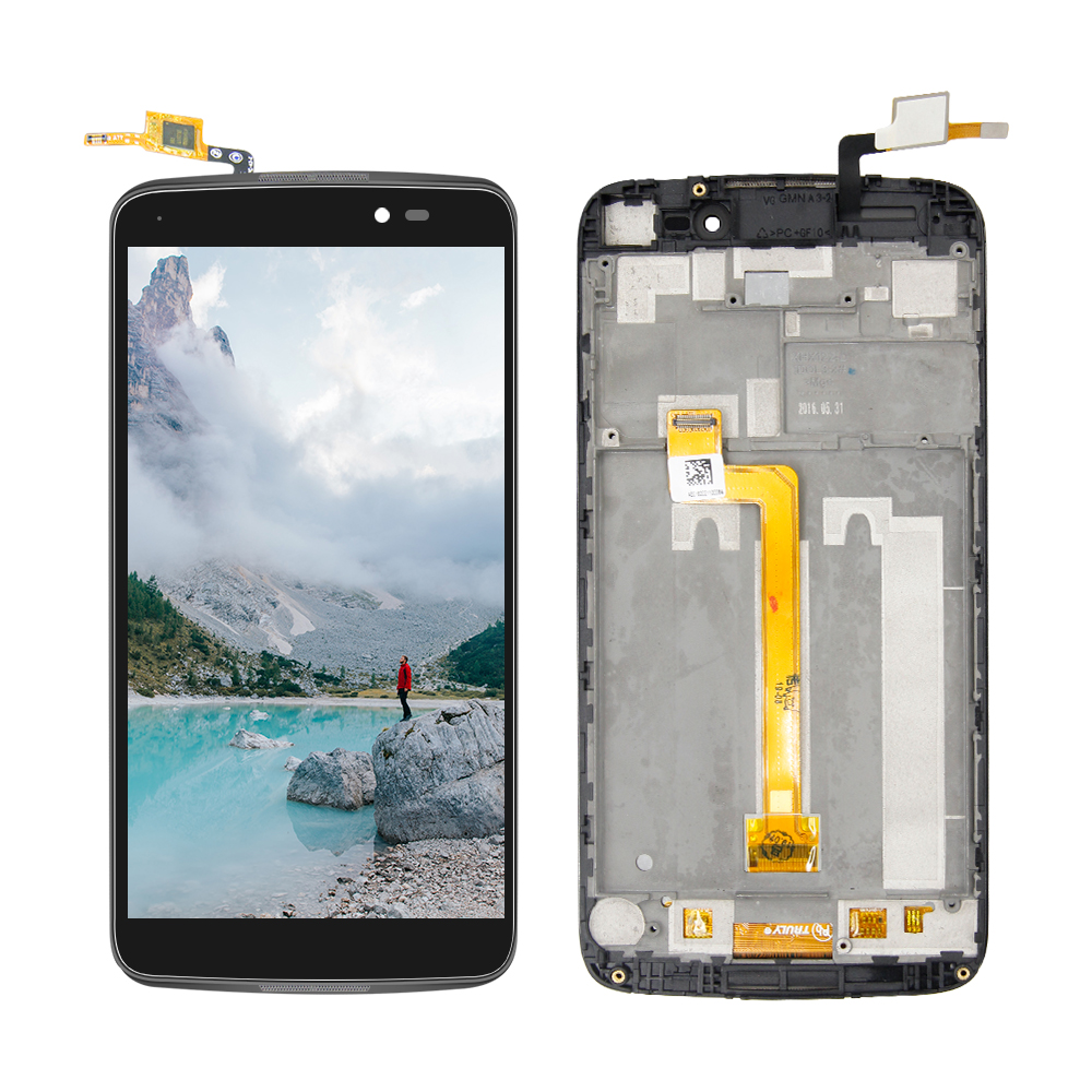 5.5'' LCD Frame For <font><b>Alcatel</b></font> One Touch Idol 3 5.5 6045 OT6045 6045K Lcd <font><b>Display</b></font> Touch Screen Digitizer Glass Assembly with Frame image