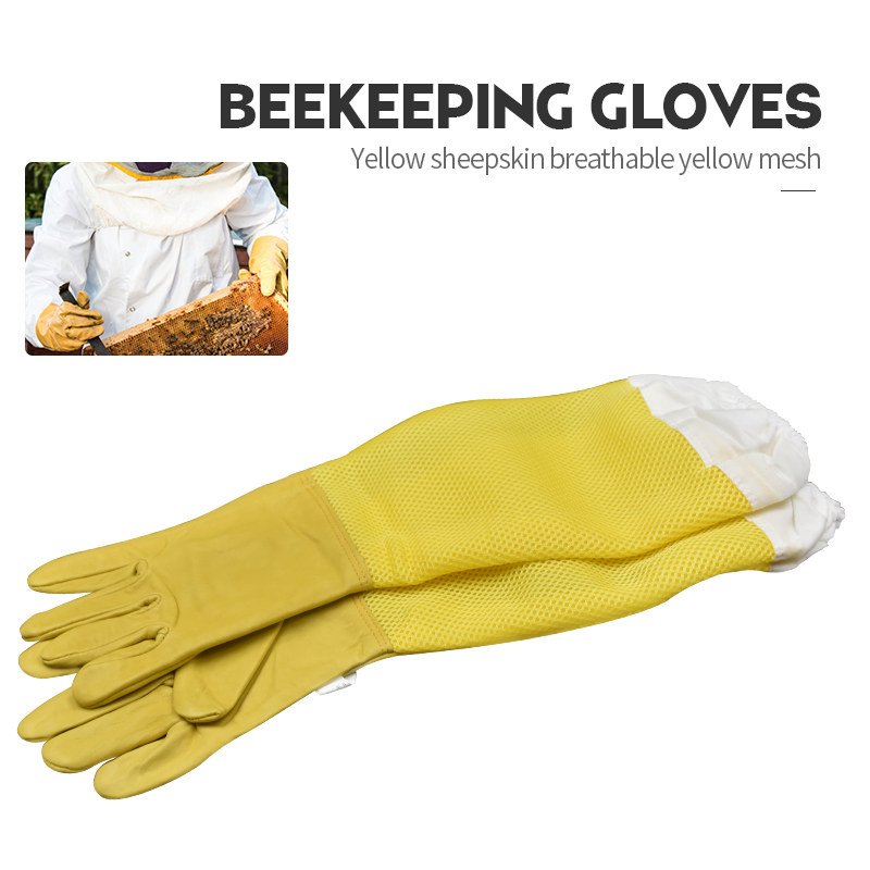 Brand Yellow Sheepskin Breathable Yellow Mesh Bee Glove Ventilated Professional Anti Bee For Apiculture Beekeeper Beehive