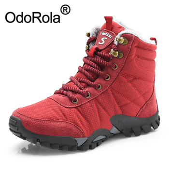 OdoRola Women's Mens Snow Boots Warm Fur Winter Boots Waterproof Couples Mountain Climbing Hiking Boots Druable Trekking Shoes