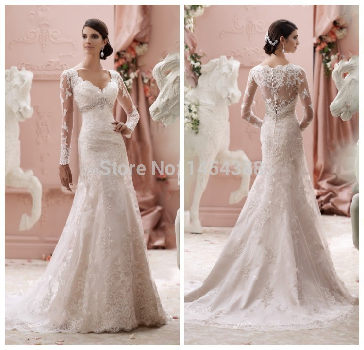 Modest Wedding Dresses With Sleeves 2019 Mermaid New Arrival V Neck Wedding Dress Long Sleeve See Through Luxury Lace Crystals