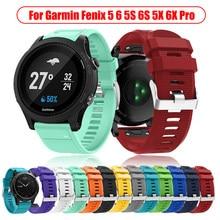 Bracelet de montre en Silicone, 20, 22, 26MM, pour Garmin Fenix 5X Plus, à dégagement rapide, pour Garmin 6X 6 6s Pro 3 3HR