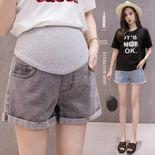 Summer Fashion Shorts Pregnant Women Denim Shorts Curling Holes Pregnant Pants Stretch Belly Pregnant Women Clothes Maternity cheap Wheat turtle Cotton CN(Origin) Solid Natural Color Regular YK087 Elastic Waist Casual Maternity short jeans Office home casual travel club sociality
