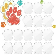 Acrylic Keychain Blanks Decoration Crafts Including 20 PCS Dog Paw-shaped Acrylic Blanks for DIY Keychain and Tags