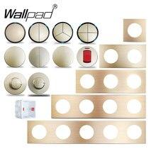 Wallpad L6 Gold Aluminium LED Wand Schalter 1 2 3 4 Gang Zwischen Sensor Schritt Licht DIY Freie Kombination