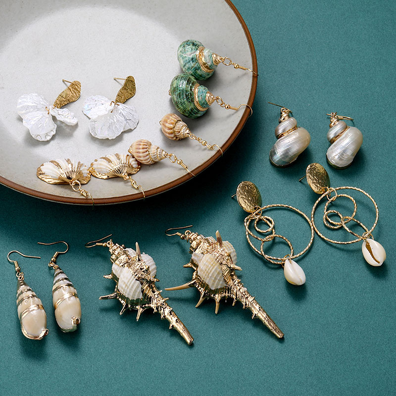 EN Bohemian Sea Shell Conch Geometric Pendant Earrings Fashion  Ocean Summer Beach Drop Earrings Female Jewelry Gift