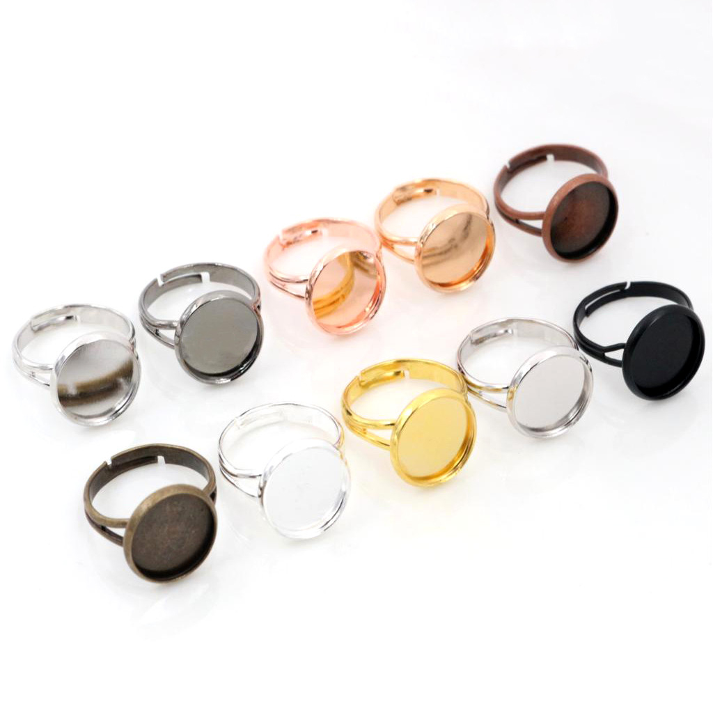 12mm 10pcs Classic 9 Colors Plated Brass Adjustable Ring Settings Blank/Base,Fit 12mm Glass Cabochons,Buttons;Ring Bezels