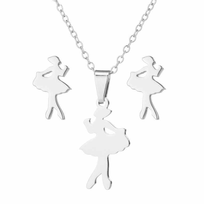 Élégant Ballet collier Ballet danseur boucles d'oreilles mode européenne ensemble de bijoux accessoires de mariage pour les femmes Aretes