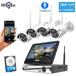Hiseeu 8ch 1080p câmera de vigilância sem fio cctv kit com 10.1