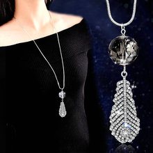 Fashion Crystal Ball Leaf Feather Long Necklace For Women 20