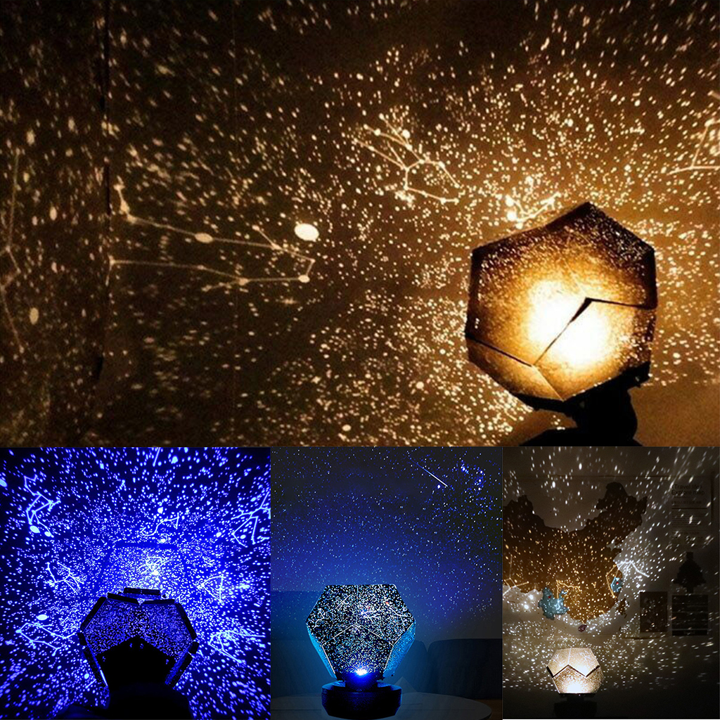 LED Projection Lamp True Color Rotating Play Starry Sky Projection Lights Bedroom Stars Romantic Starry Lights USB Type Lamp NDS