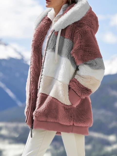 2020 Winter Women's Coat Fashion Casual Stitching Plaid Ladies Clothes Hooded Zipper Ladies Coat Lamb Hair women jacket 6