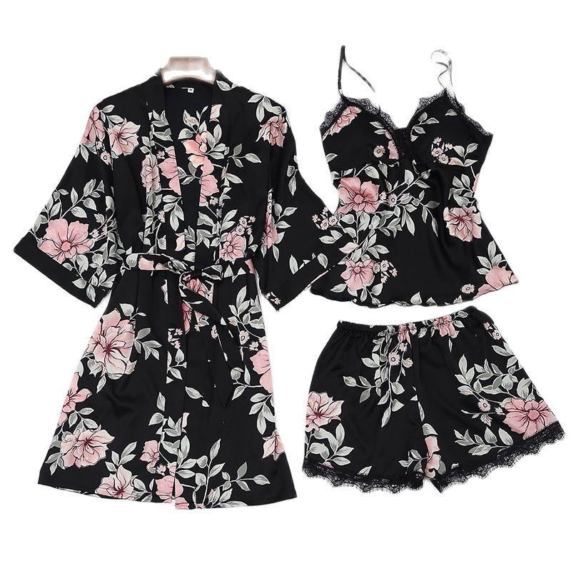 Summer Pajama Set Women 3 Pieces Ice Silk Floral Printed Sleepwear Female Sexy Lace Thin Feminine Sling Shorts Пижама Женская