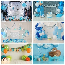 Laeacco Birthday Backgrounds Chic Wall Blue Balloons Clouds Flags Fireplace Children Portrait Photography Backdrops Photo Studio