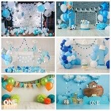 Laeacco urodziny tła Chic ściany niebieskie balony chmury flagi kominek dzieci tła do fotografii portretowej Photo Studio