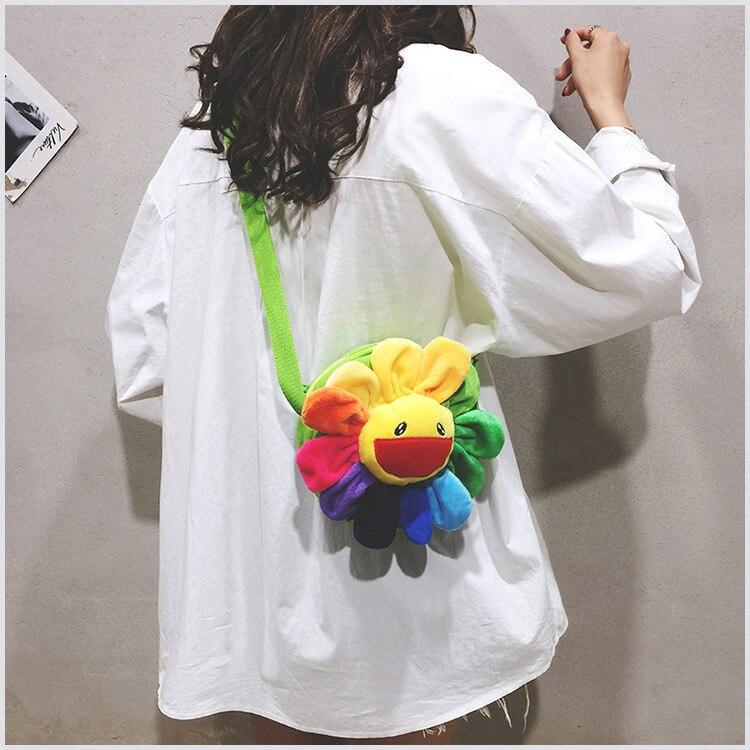 New Cute Soft Plush Kawaii Sunflower Shoulder Diagonal Cross Hair Bag Korean Hit Color  Ins Plush Bag Female